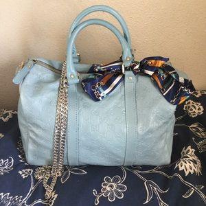 Gucci blue leather Boston handbag